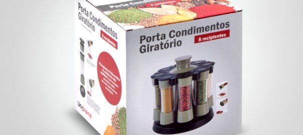 Embalagem para produto importado. Arte para caixa de porta temperos