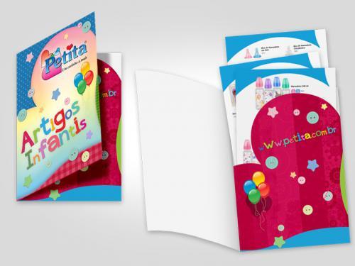 Catálogo em Lâminas e Pasta produtos infantil