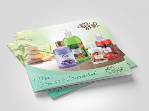 Catálogo de sabonetes, gel e shampoo design gráfico